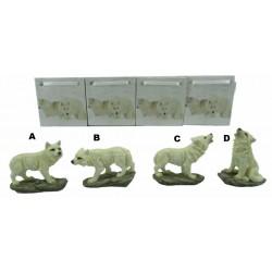 Figurine minis loups blancs