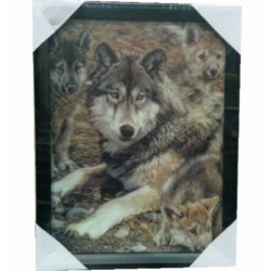 Cadre 3D famille de loups