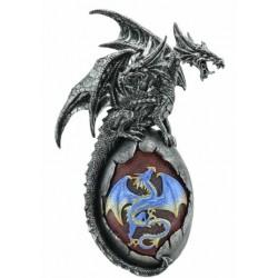 Figurine Dragon à deux tête sur oeuf lumineux