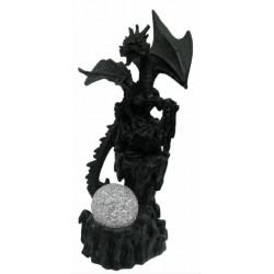 Figurine Dragon noir et boule lumineuse