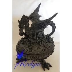Boîte ronde dragon ailes dépoyées