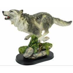 Loup gris en pleine course