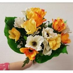 Bouquet  anémones et gypsophile