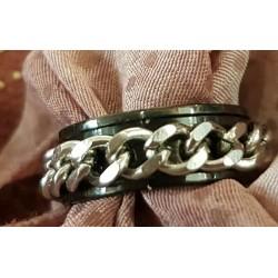 Bague chaîne anneau noir