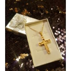 Croix dorée tout en relief