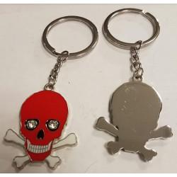 Porte-clés crâne métal rouge
