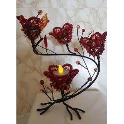 Bougeoir rouge - 4 bougies rouge