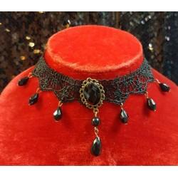 Collier gothique camé noir