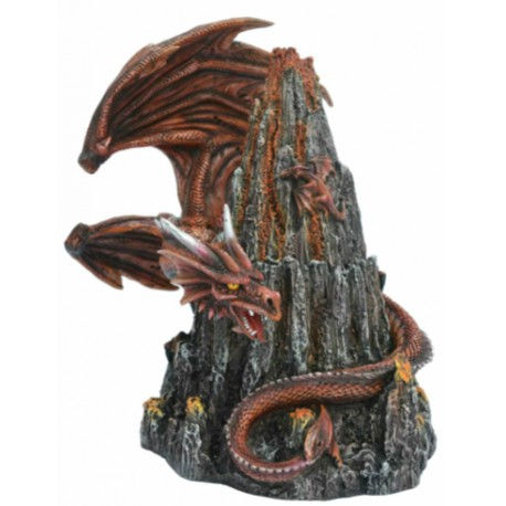 Dragon orange entourant un rocher